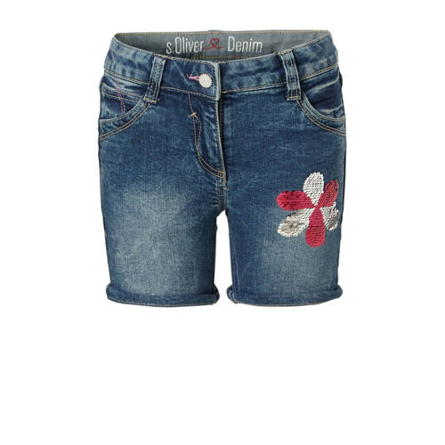 s.Oliver regular fit jeans short met pailletten