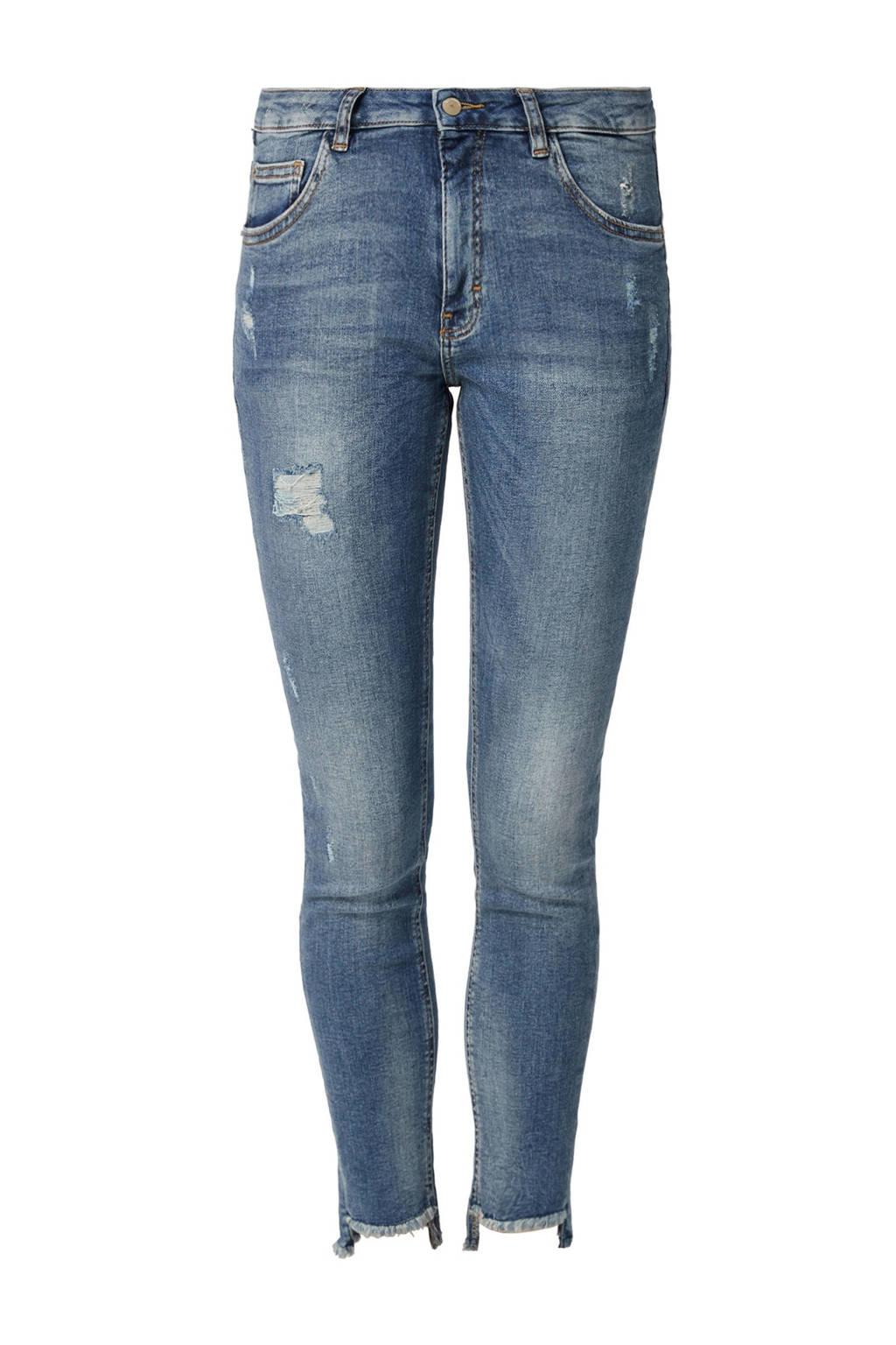 Q/S designed by skinny jeans met slijtages details, Stonewashed