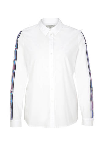 blouse met contrastbies wit