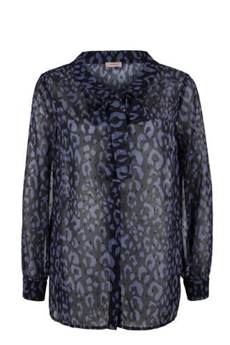 blouse met panterprint blauw