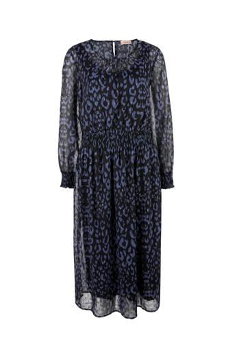 jurk met panterprint blauw