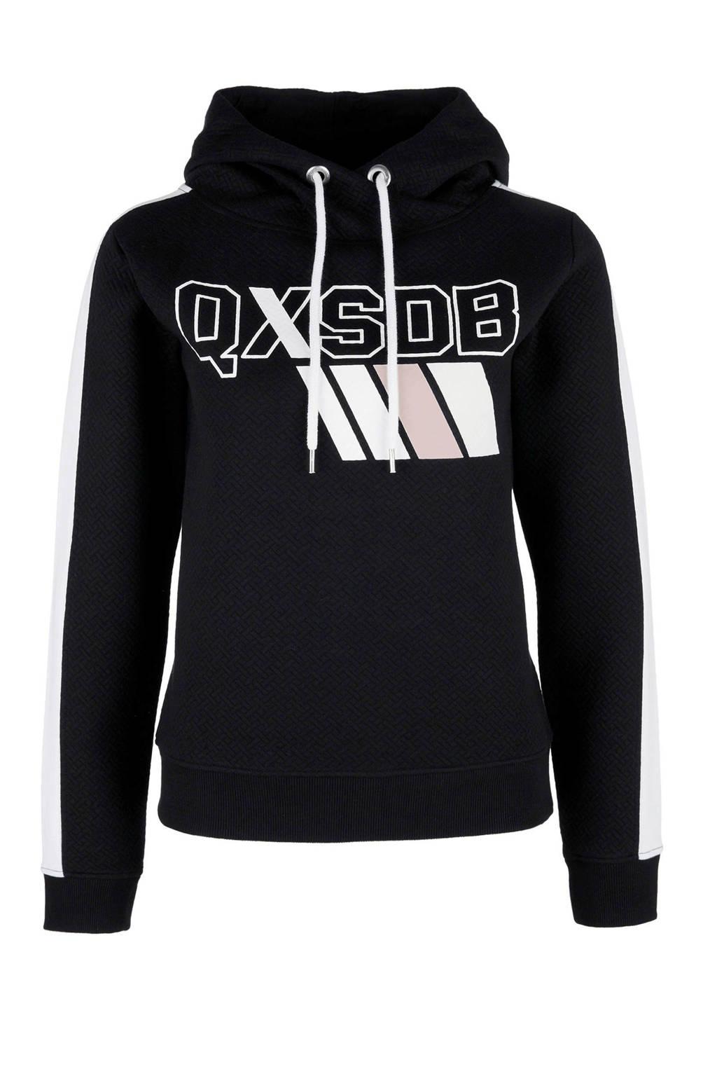 Q/S designed by hoodie zwart/wit, Zwart/wit
