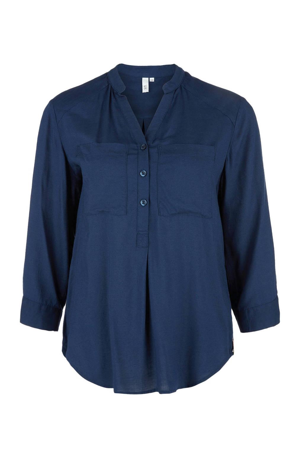 Q/S designed by blouse met driekwart mouwen, Donkerblauw