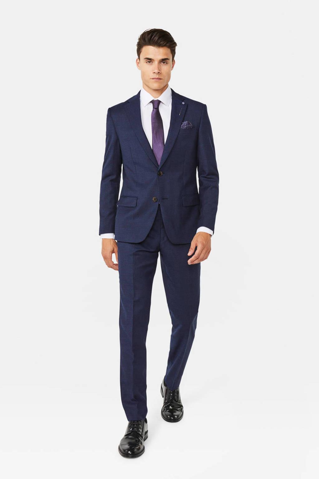 WE Fashion gemêleerd slim fit colbert met wol donkerblauw, Donkerblauw