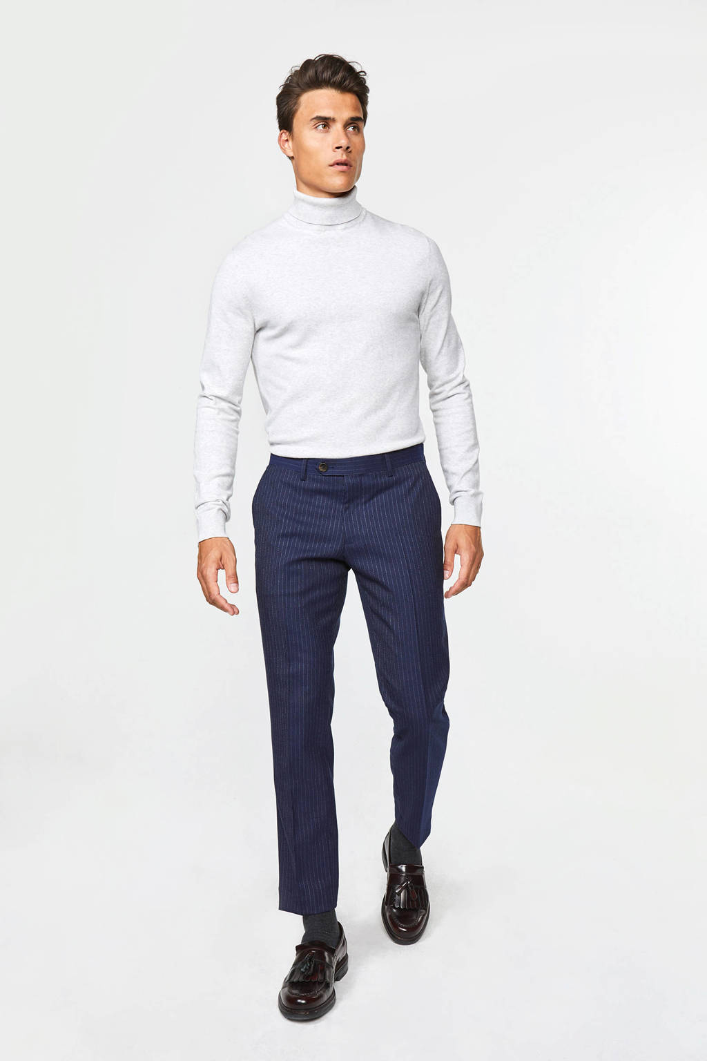 WE Fashion slim fit pantalon met krijtstreep royal navy, Royal Navy