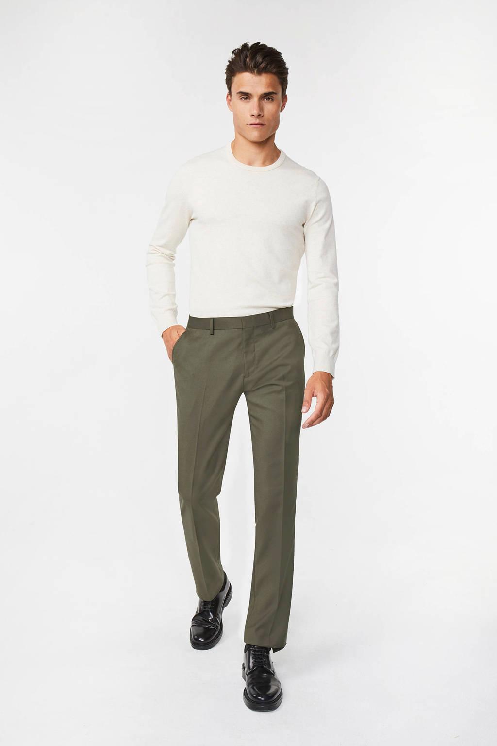 WE Fashion slim fit pantalon olive, Olive
