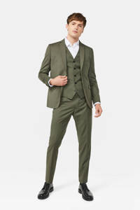WE Fashion slim fit colbert olijfgroen, Olijfgroen