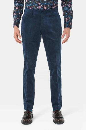 slim fit pantalon met textuur blauw