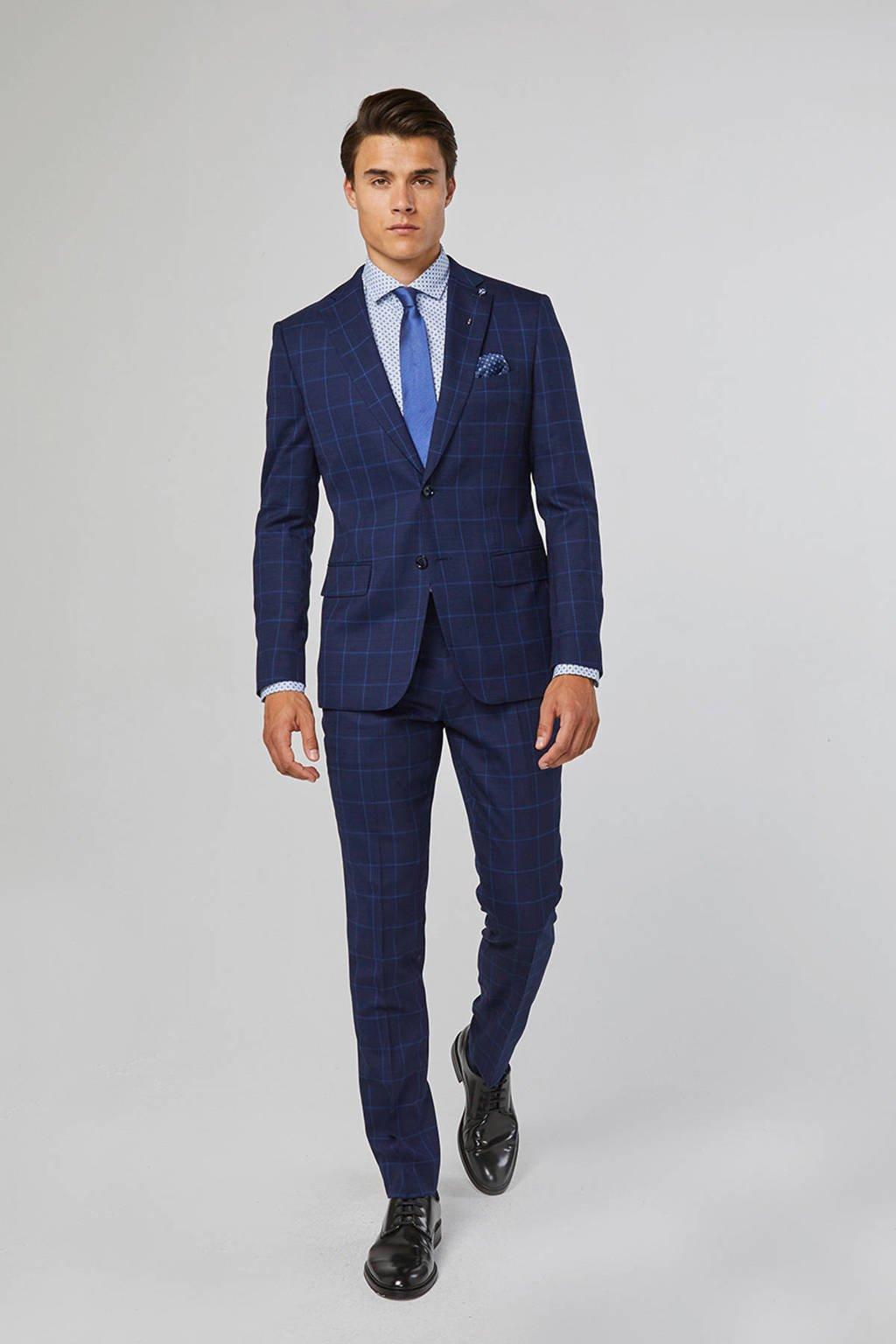 WE Fashion geruit slim fit colbert blauw, Blauw