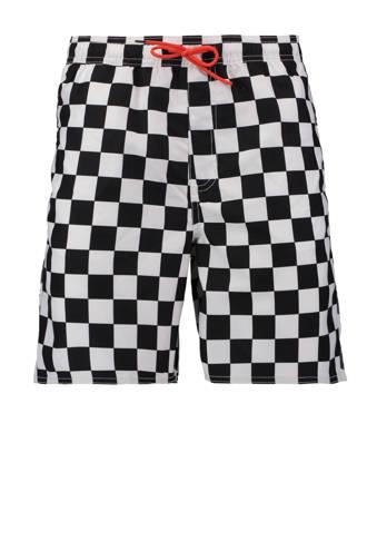 zwemshort all-over print blokjes zwart/wit