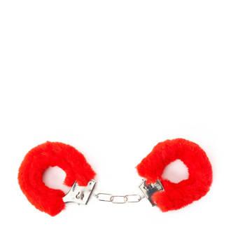 Private handboeien fake fur rood
