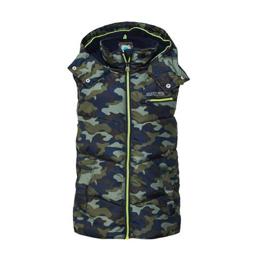 WE Fashion bodywarmer met camouflageprint donkerbl