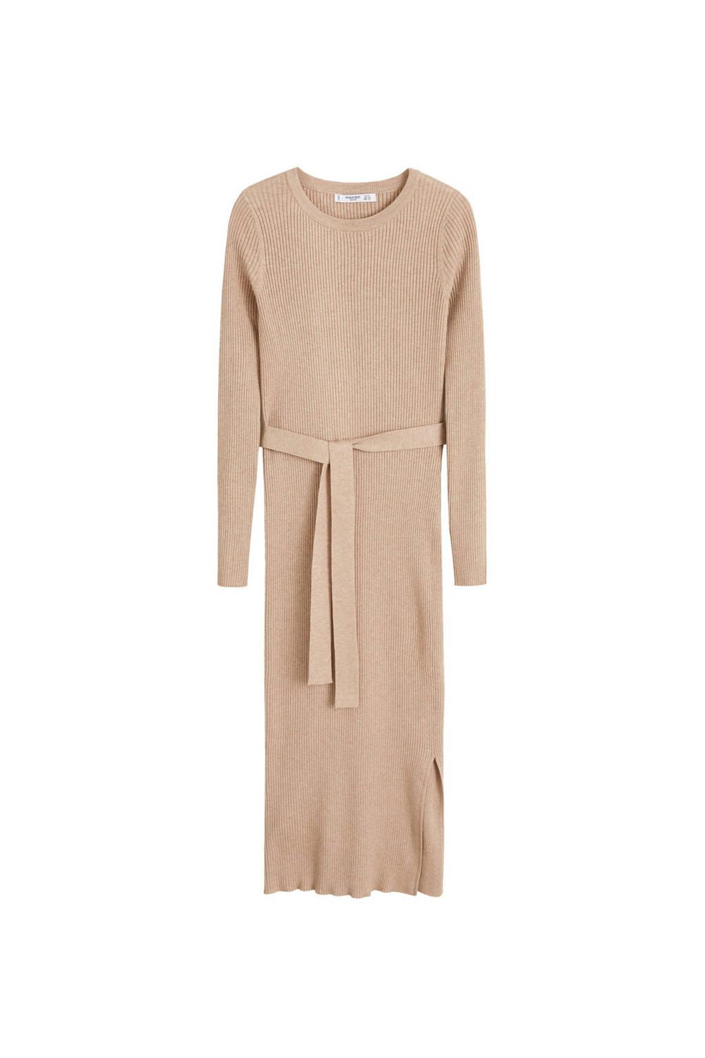 Mango jurk van geribde stof bruin, Bruin