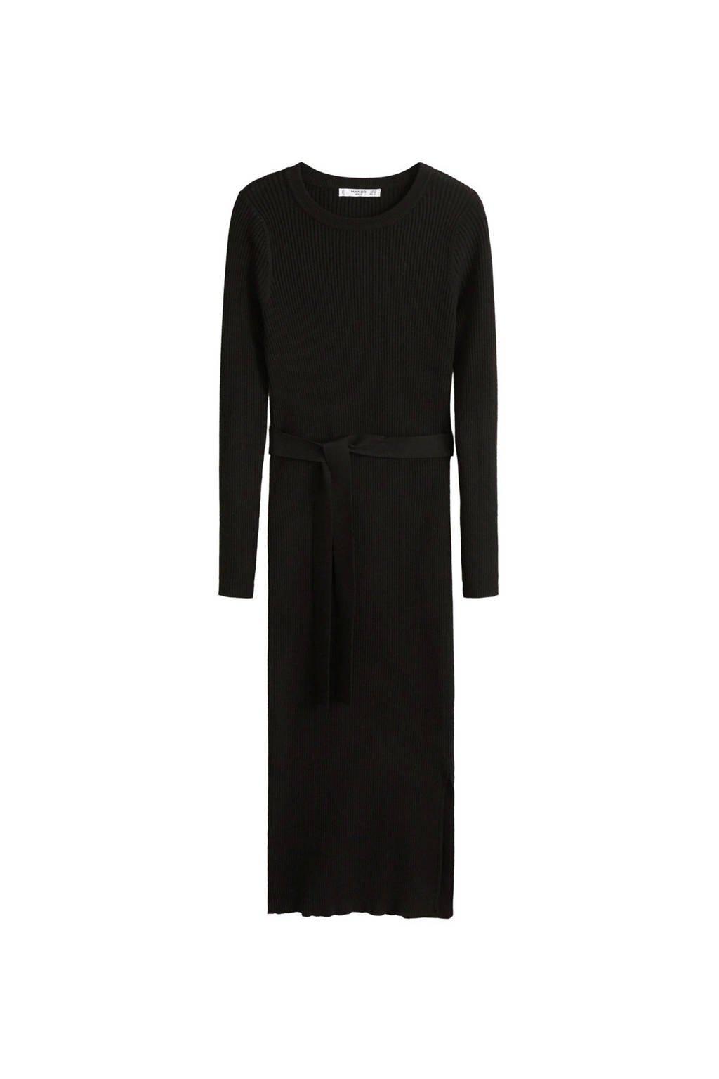 Mango jurk van geribde stof zwart, Zwart