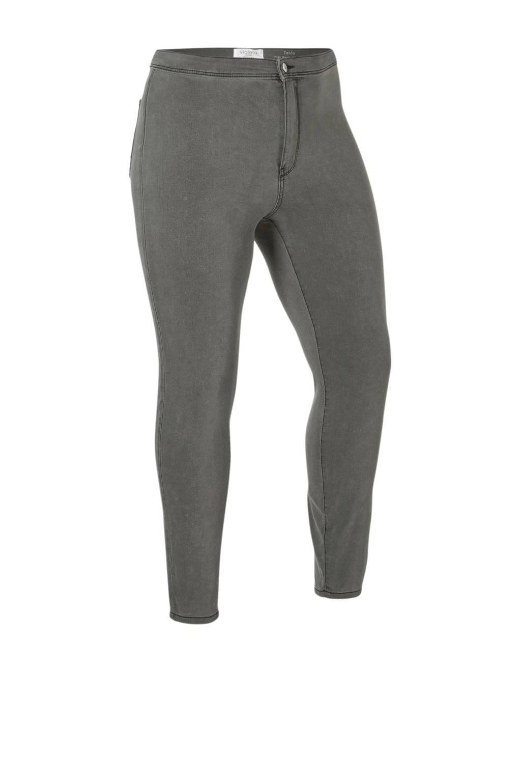 Violeta by Mango high waist skinny fit jegging grijs, Grijs