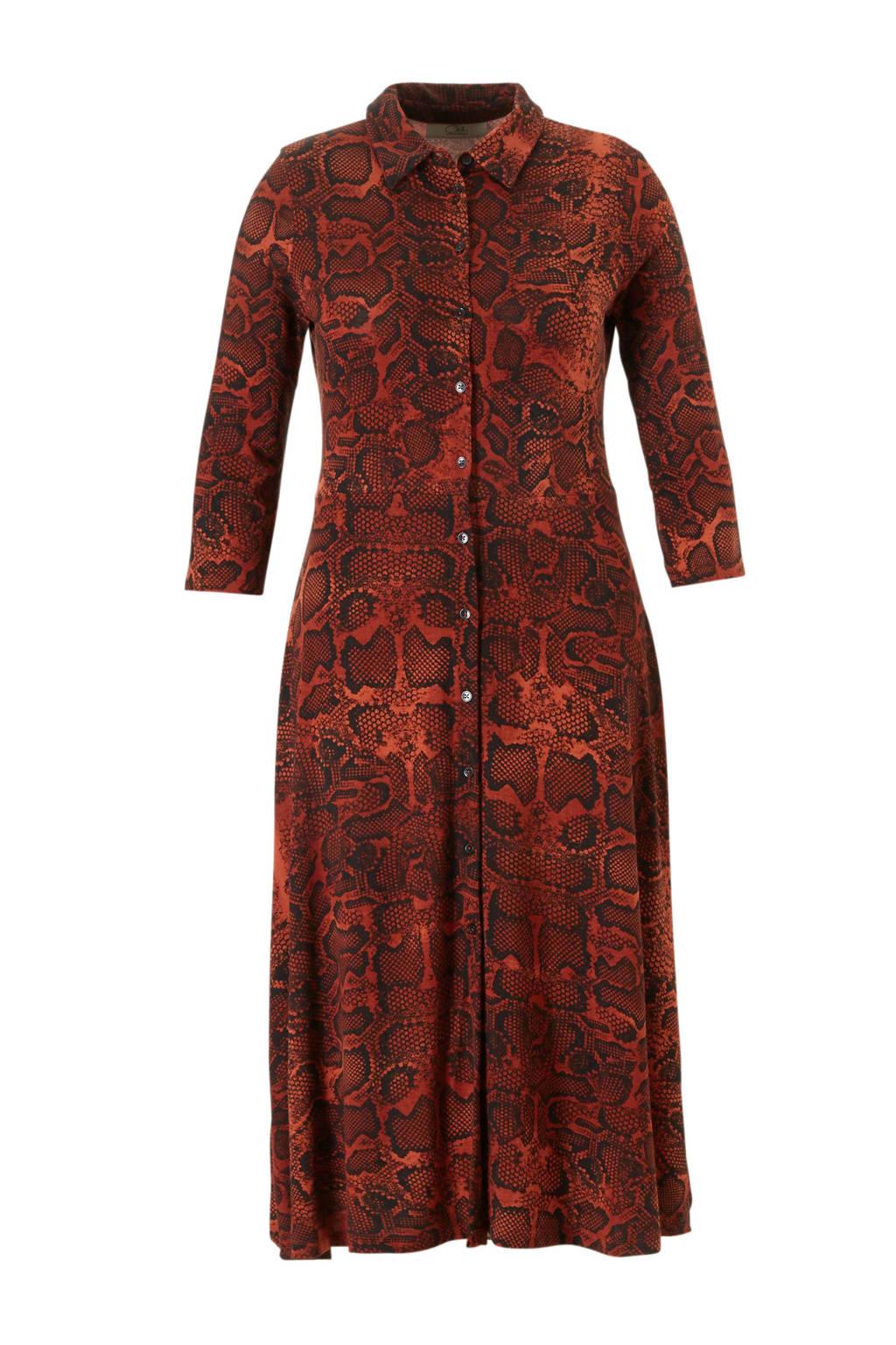 C&A XL Clockhouse blousejurk met slangenprint rood, Rood/zwart