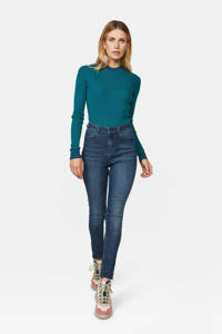 WE Fashion Blue Ridge high waist skinny jeans donkerblauw, Donkerblauw