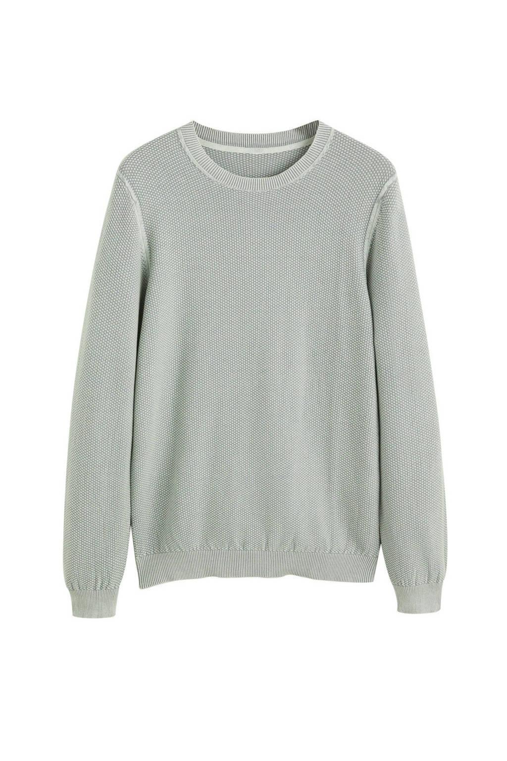Mango Man trui met textuur grijs, Grijs