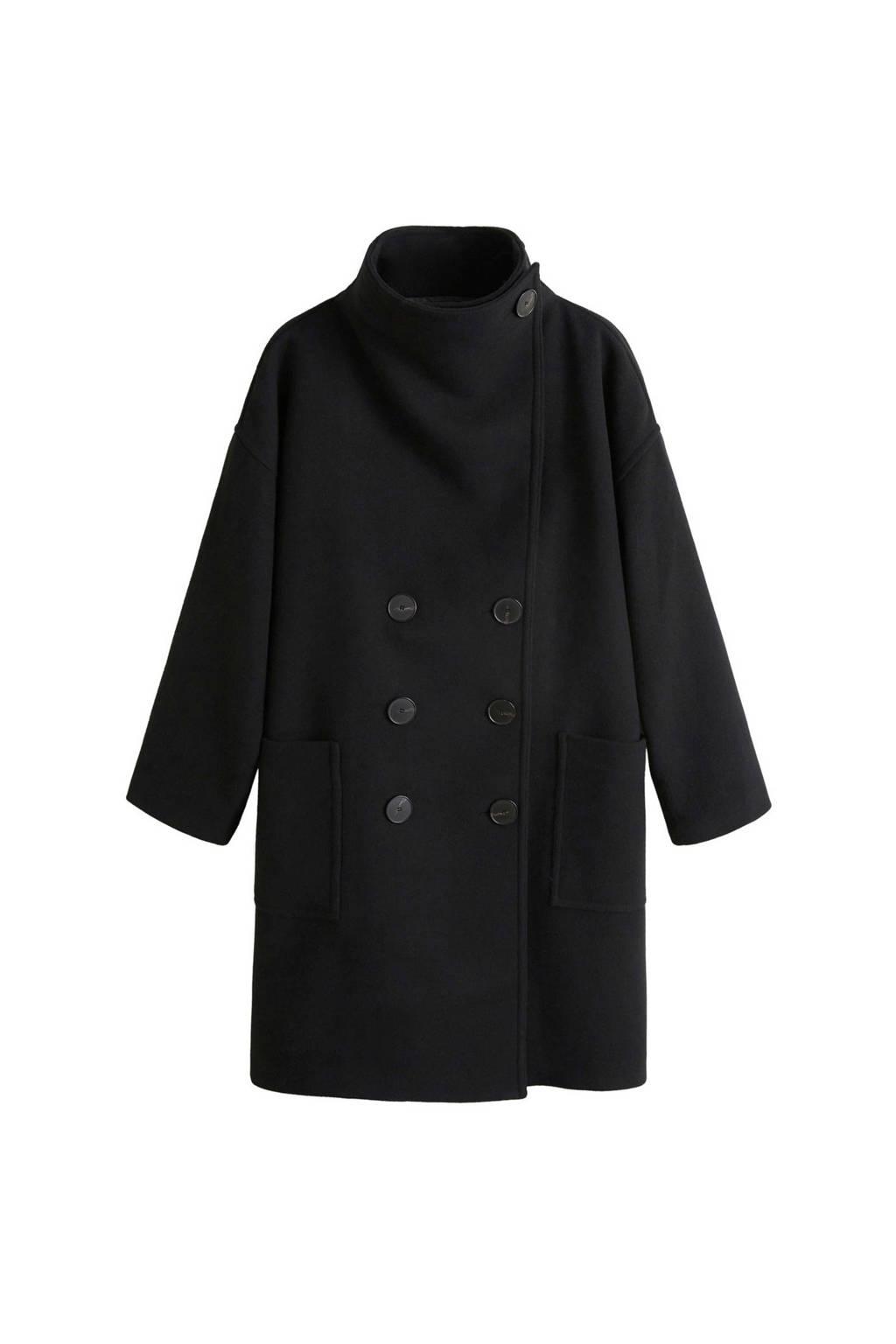 Mango jas met wol zwart, Zwart