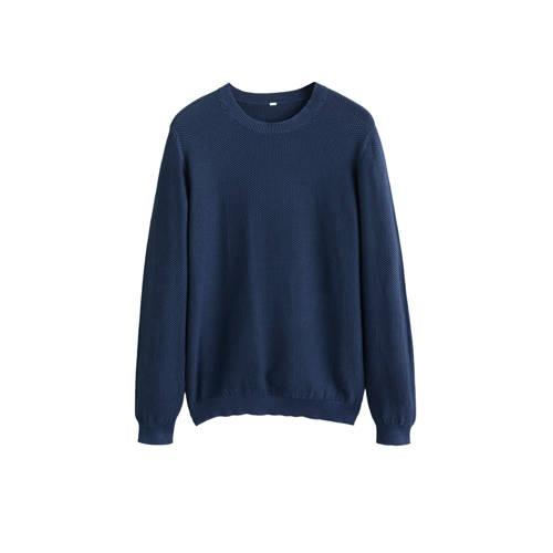 Mango Man trui met textuur donkerblauw kopen