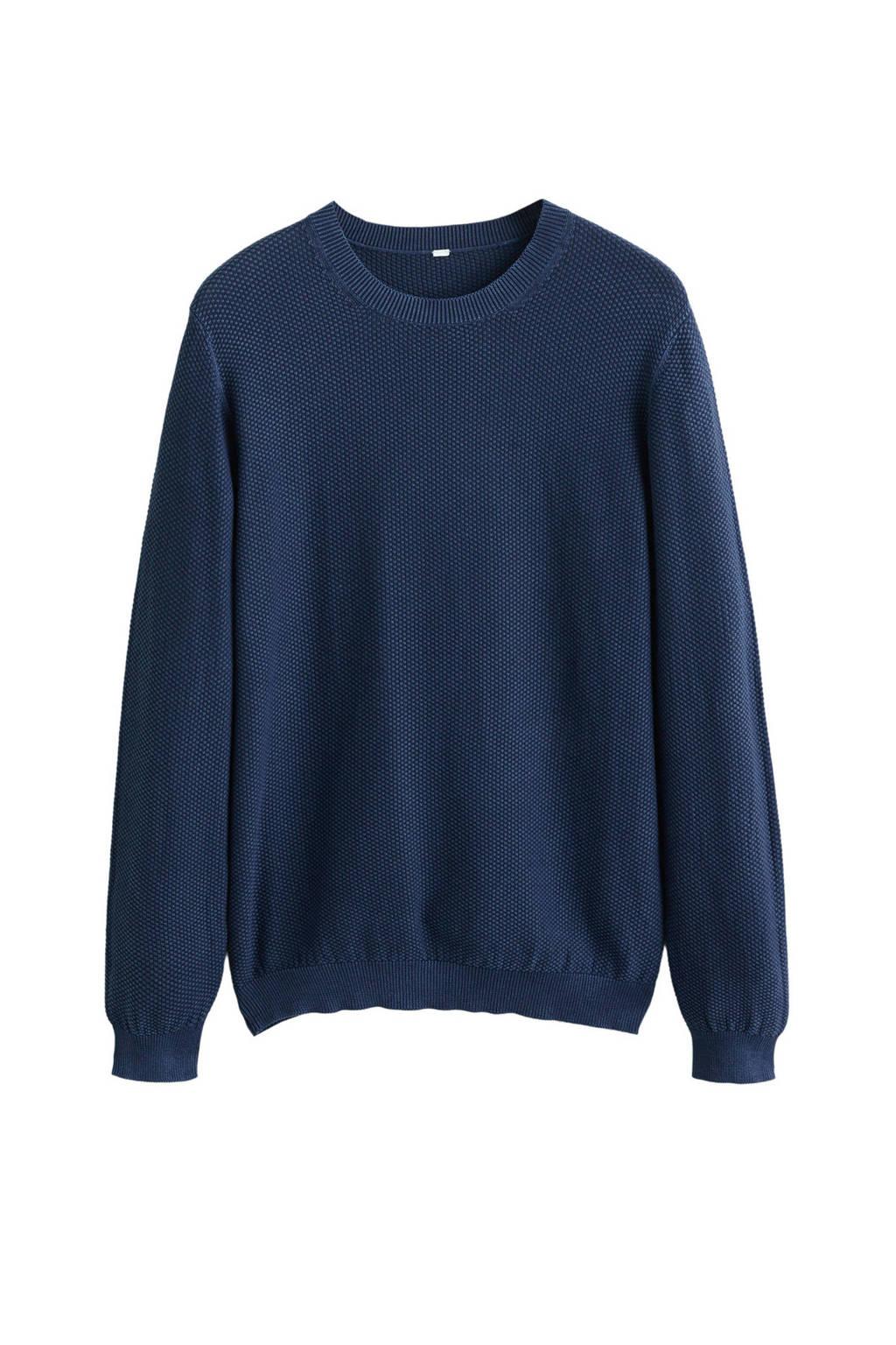 Mango Man trui met textuur donkerblauw, Donkerblauw