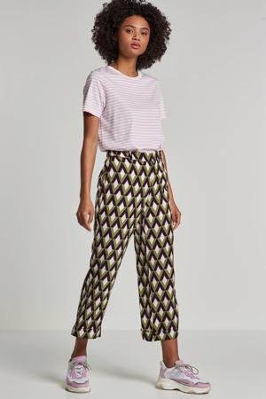 loose fit broek Reggy met all over print groen/donkerblauw/wit/rood