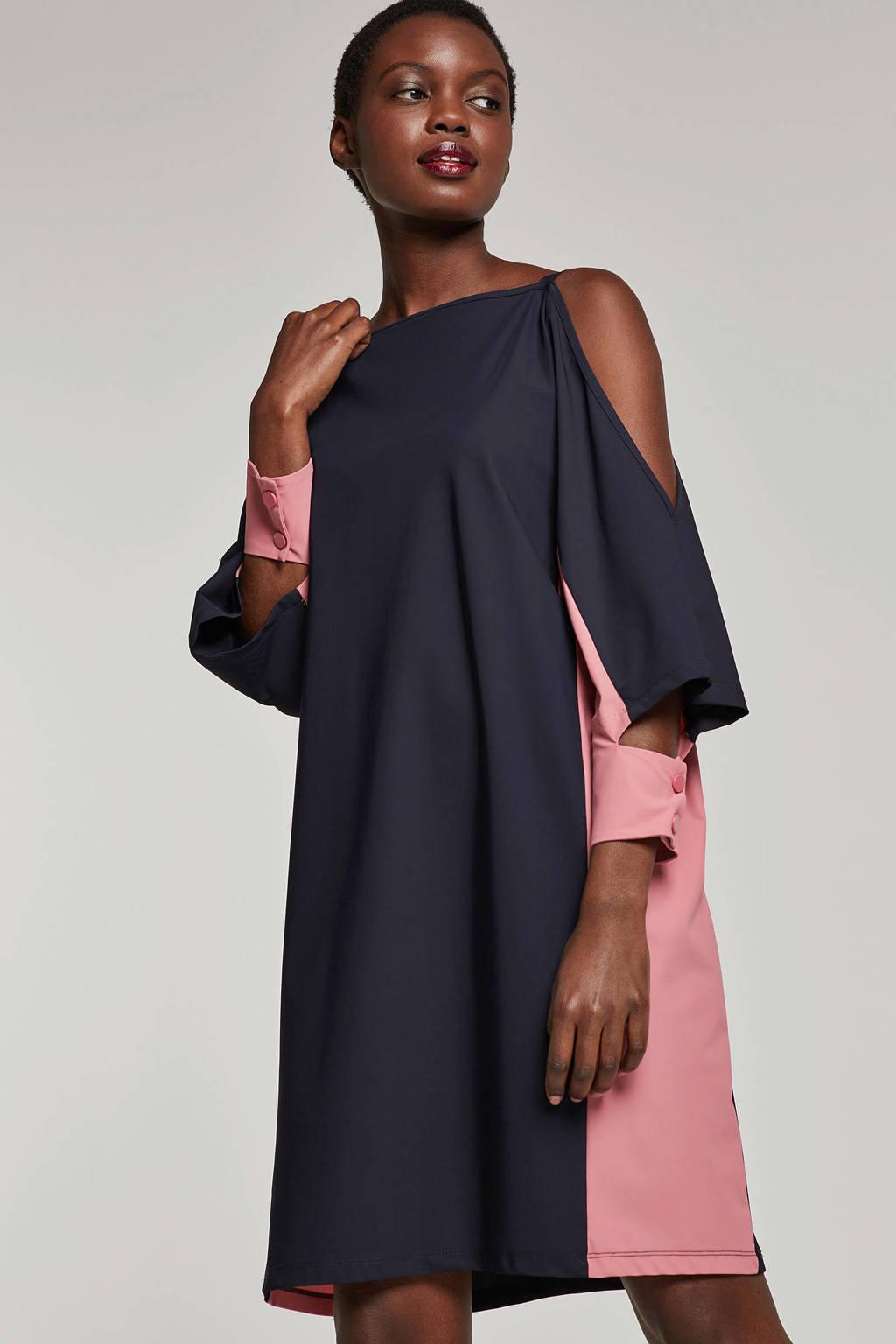 Fifth House jersey jurk Eryn donkerblauw/roze, Donkerblauw/roze