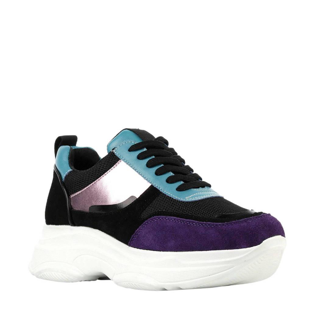 NIKKIE  suède sneakers, Zwart