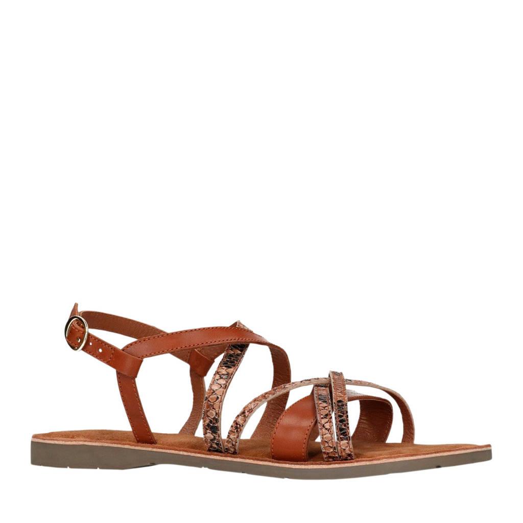 Manfield leren sandalen met slangenprint, Bruin