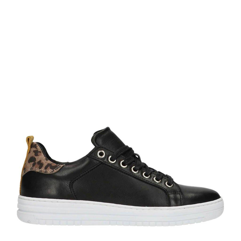 Manfield  leren sneakers zwart, Zwart