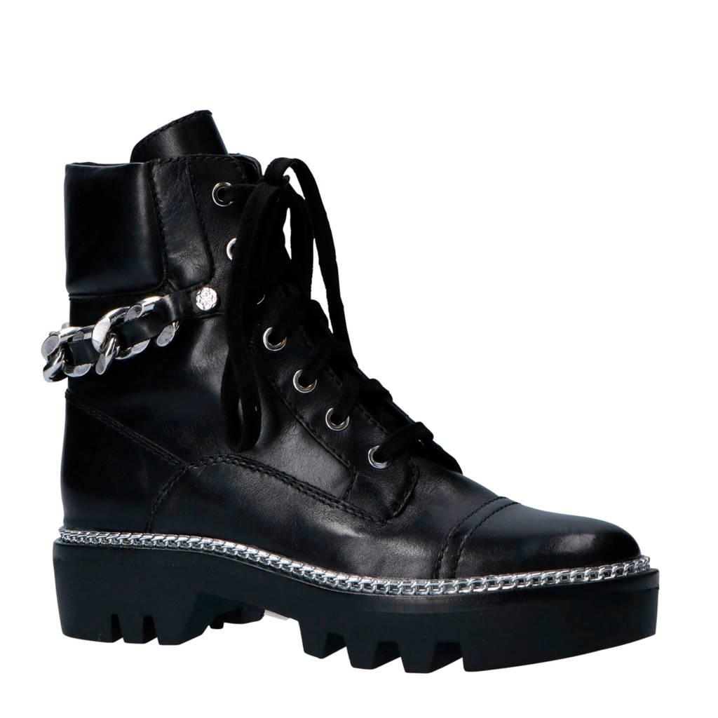 GUESS leren veterboots zwart, Zwart