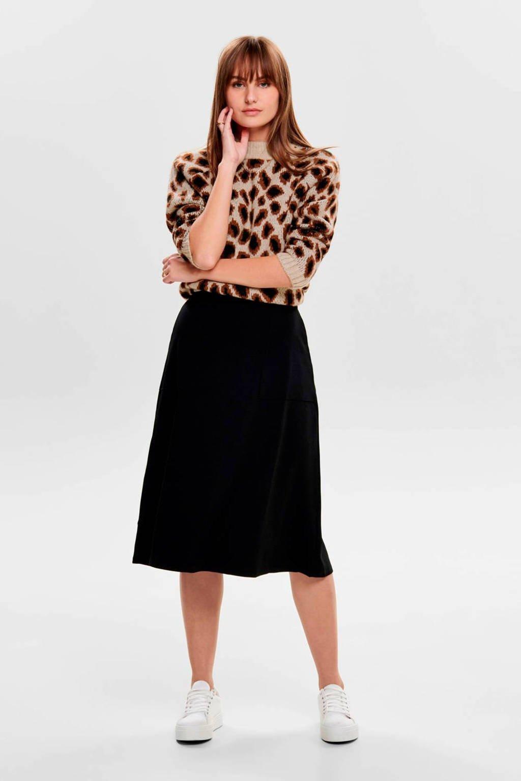 ONLY trui met panterprint beige/bruin/zwart, Beige/bruin/zwart