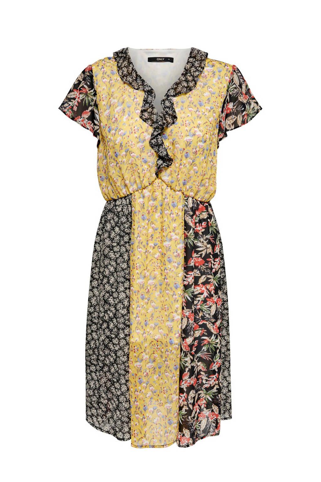 ONLY jurk met all over print en volant, Geel/zwart/multi