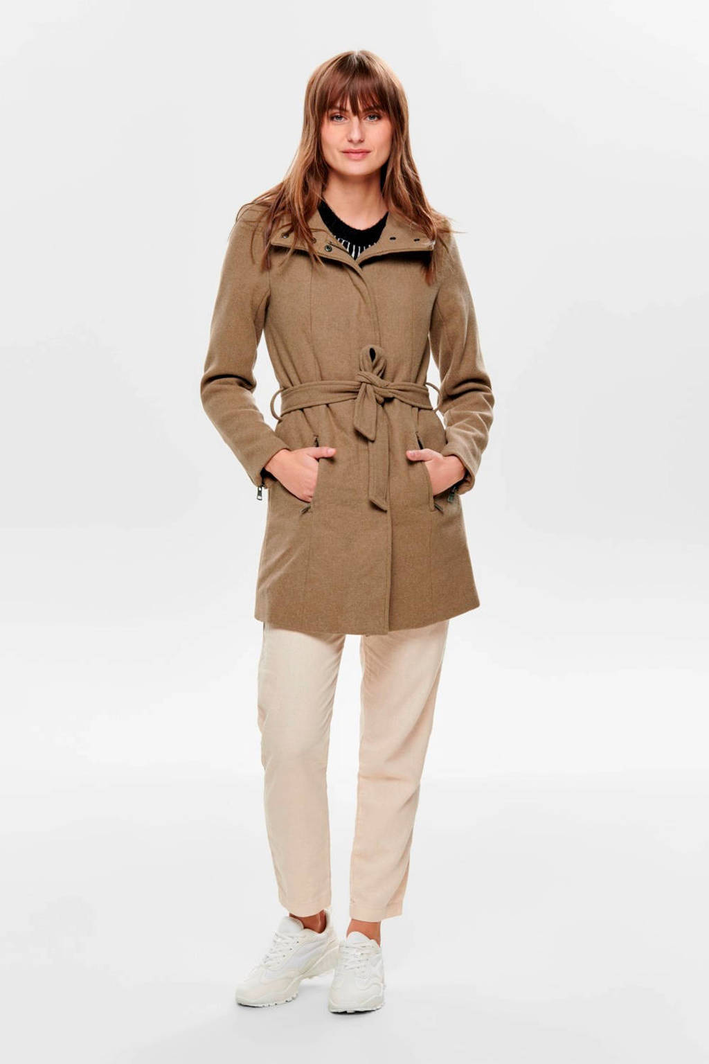 ONLY coat met ceintuur bruin, Bruin