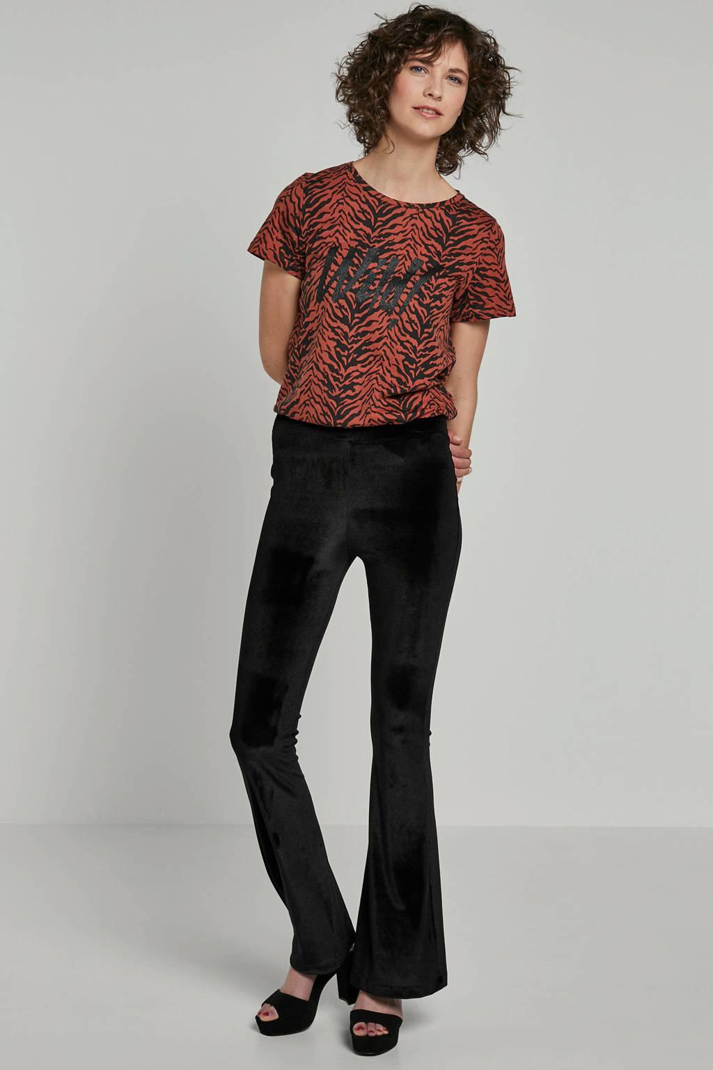 Noisy may T-shirt met tijgerprint bruin, Bruin/zwart