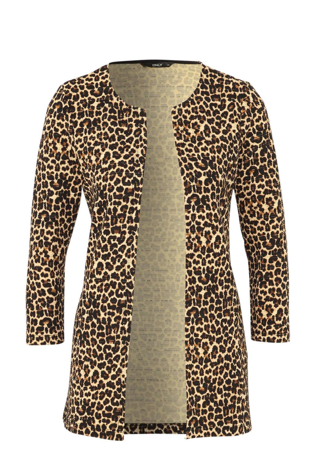 ONLY vest met panterprint, Bruin