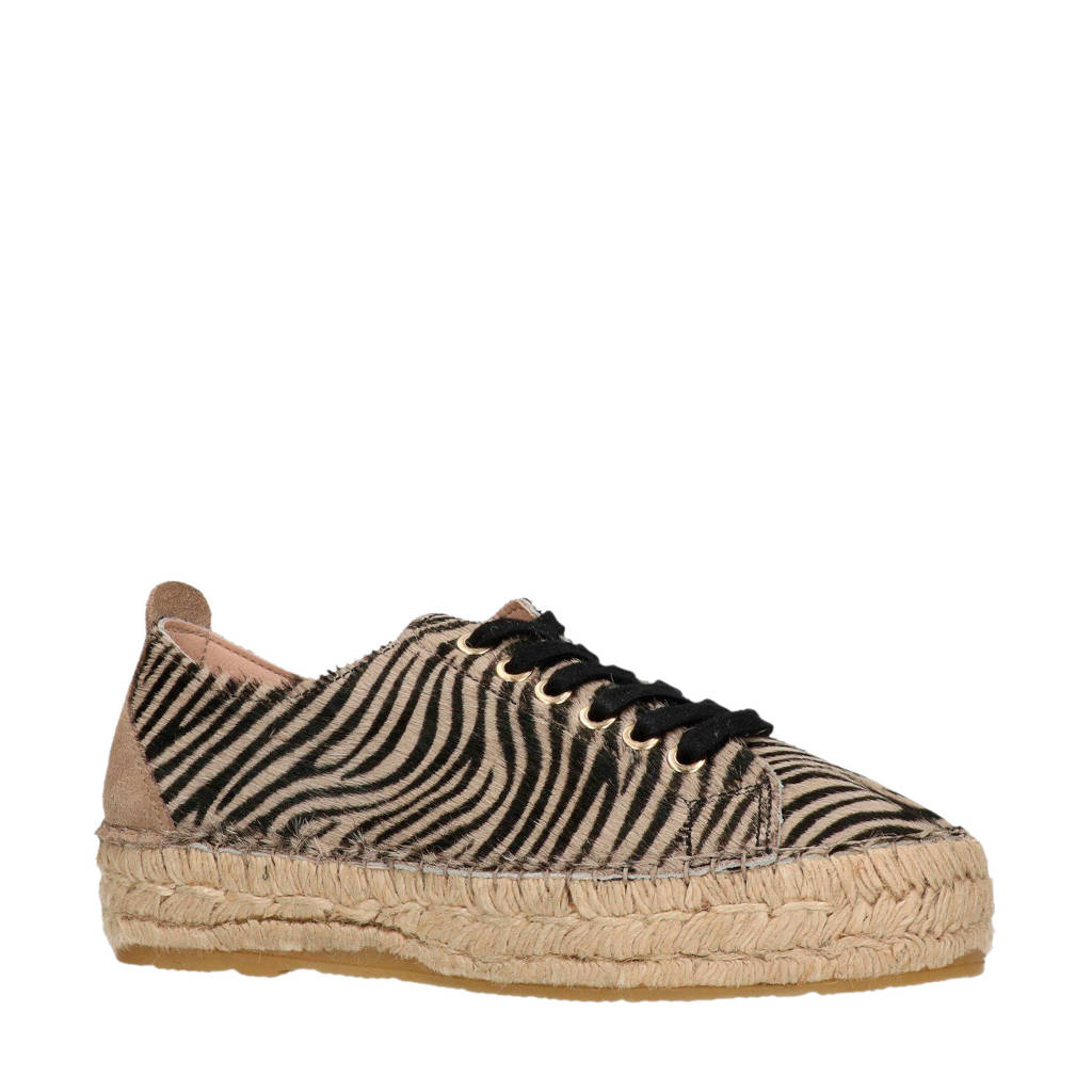 Manfield   espadrilles sneakers met zebraprint, Zwart/bruin