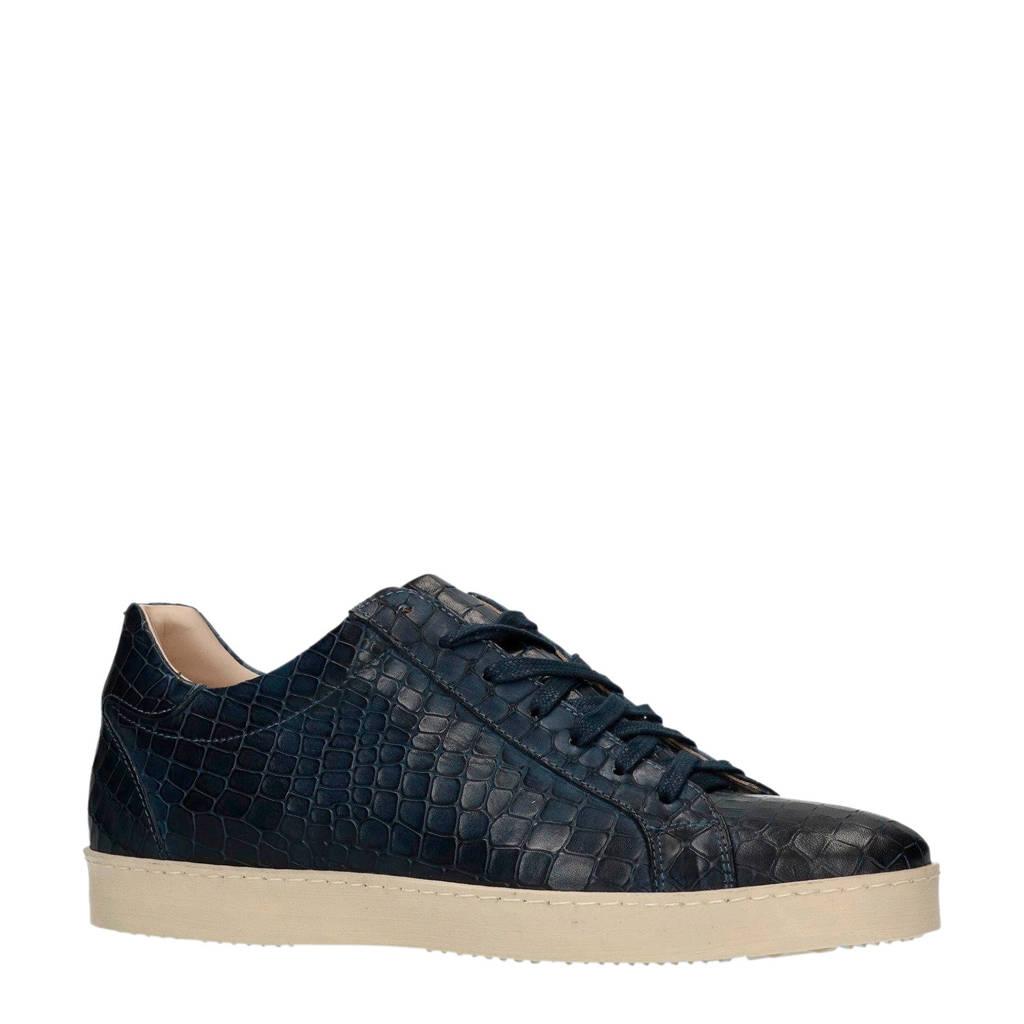Manfield Black Label  leren sneakers donkerblauw, Blauw
