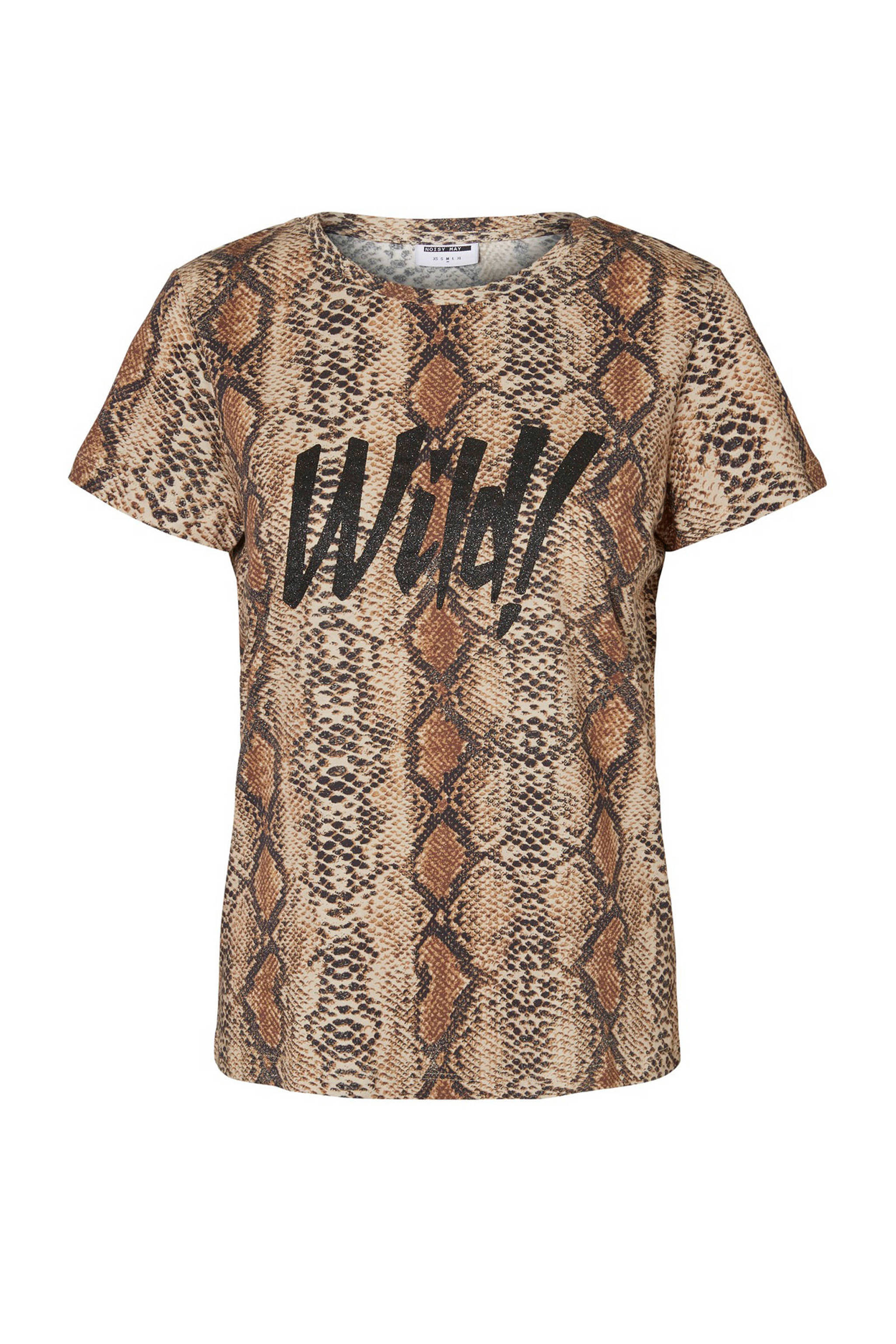a8d5bdfd010 Noisy may T-shirt met slangenprint bruin | wehkamp