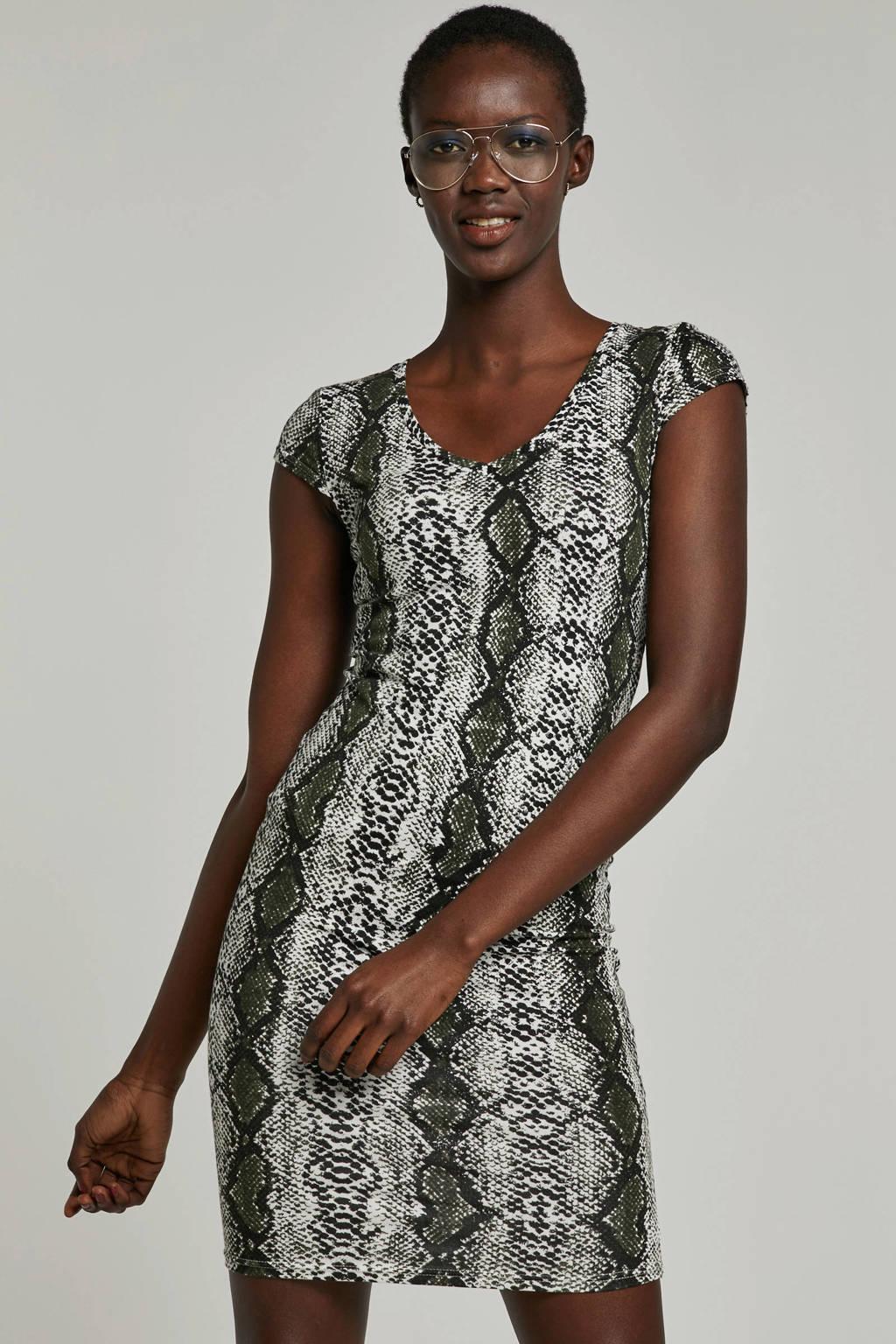 Noisy may jurk met slangenprint, Donkergroen/wit/zwart