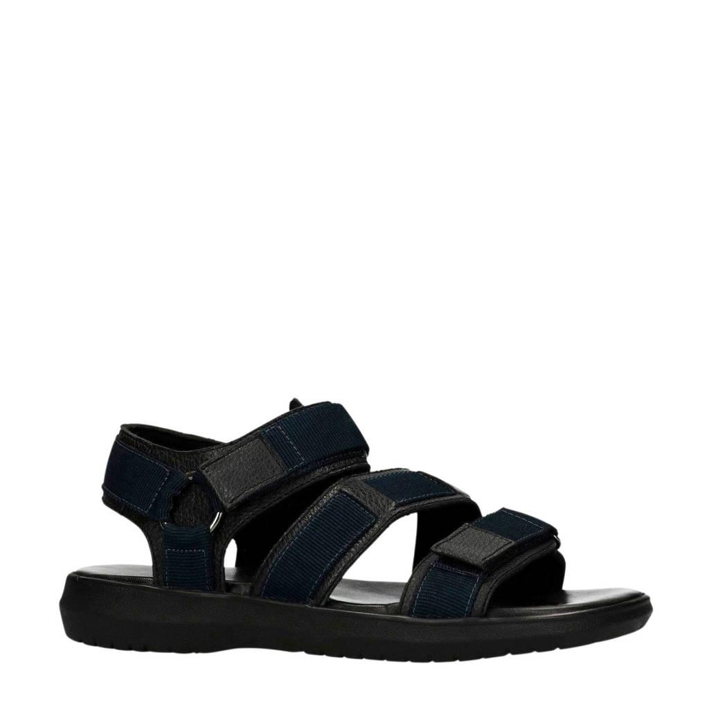 Manfield leren sandalen zwart/blauw, Zwart