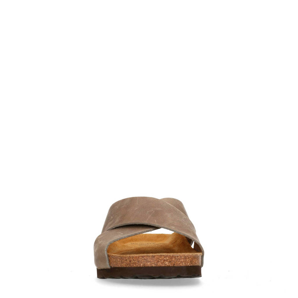 Manfield Leren Slippers Taupe Slippers Leren Taupe Manfield Manfield AA6nrqZ