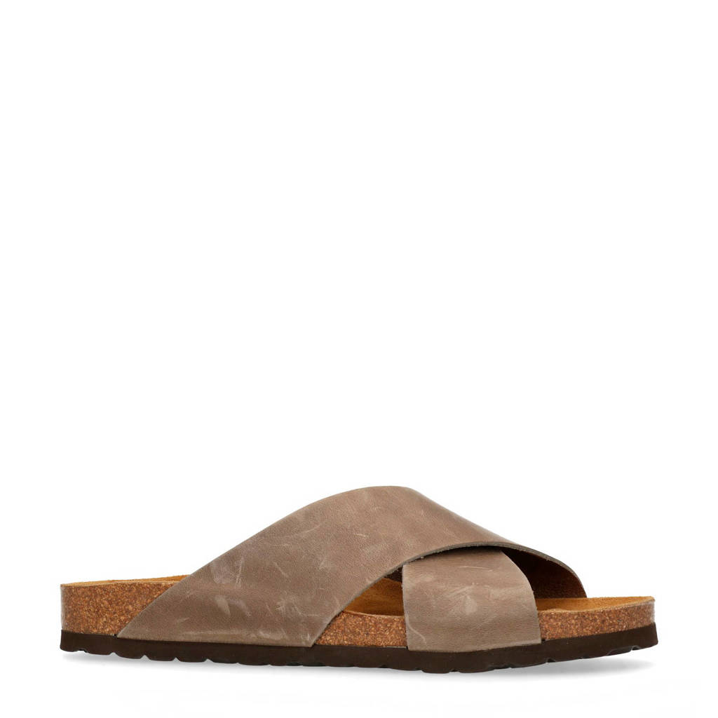 Manfield   leren slippers taupe, Taupe