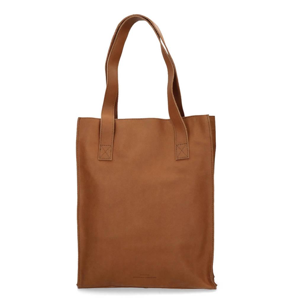 Sacha  13,3 inch leren shopper/ laptoptas, Bruin