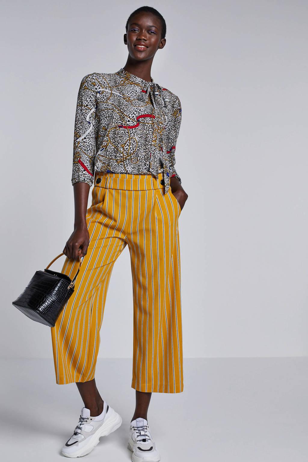 JACQUELINE DE YONG gestreepte cropped high waist straight fit broek geel, Geel