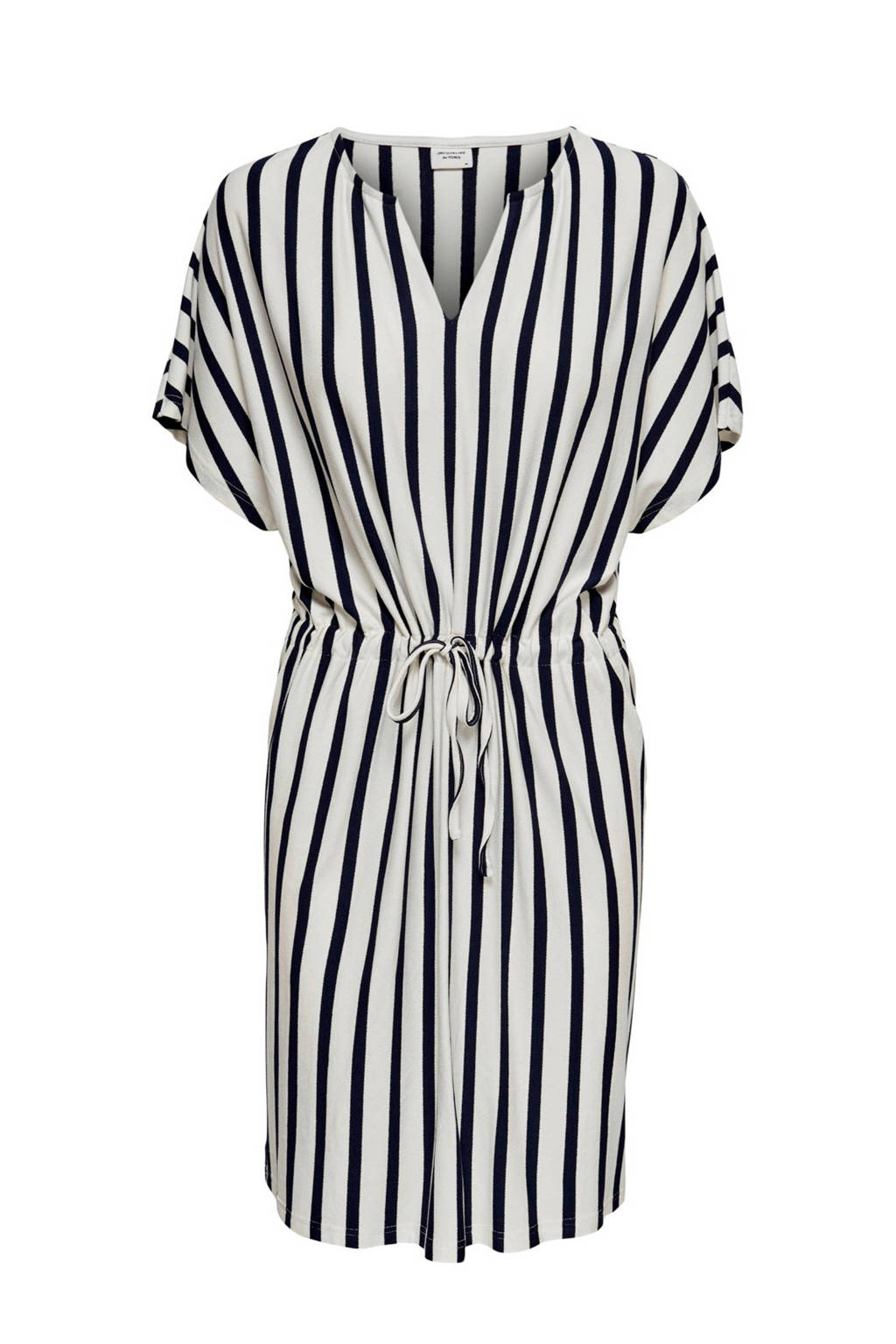 JACQUELINE DE YONG jurk met stepen, Wit/ donkerblauw