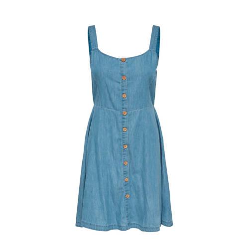 JACQUELINE DE YONG jurk in denim look, Deze damesjurk van JACQUELINE DE YONG is gemaakt van katoen. Het model beschikt over een knoopsluiting. De jurk is mouwloos en heeft verder een ronde hals.Extra gegevens:Merk: JACQUELINE DE YONGKleur: BlauwModel: Jurk (Dames)Voorraad: 1Verzendkosten: 0.00Plaatje: Fig1Plaatje: Fig2Maat/Maten: 42Levertijd: direct leverbaar