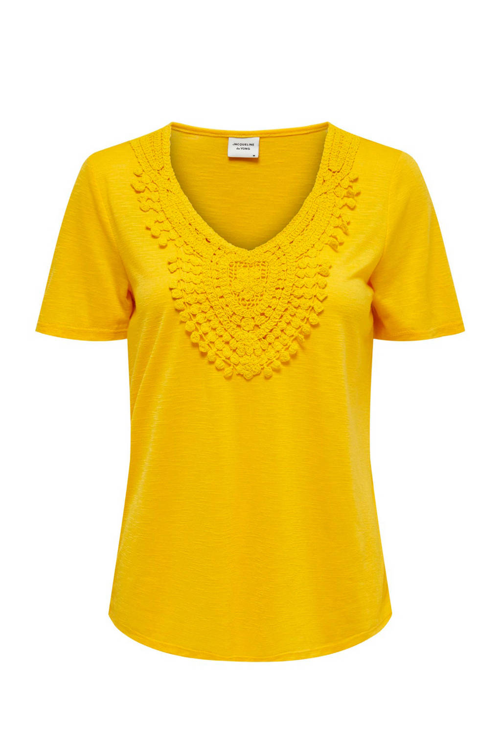 JACQUELINE DE YONG T-shirt met borduursels geel, Geel