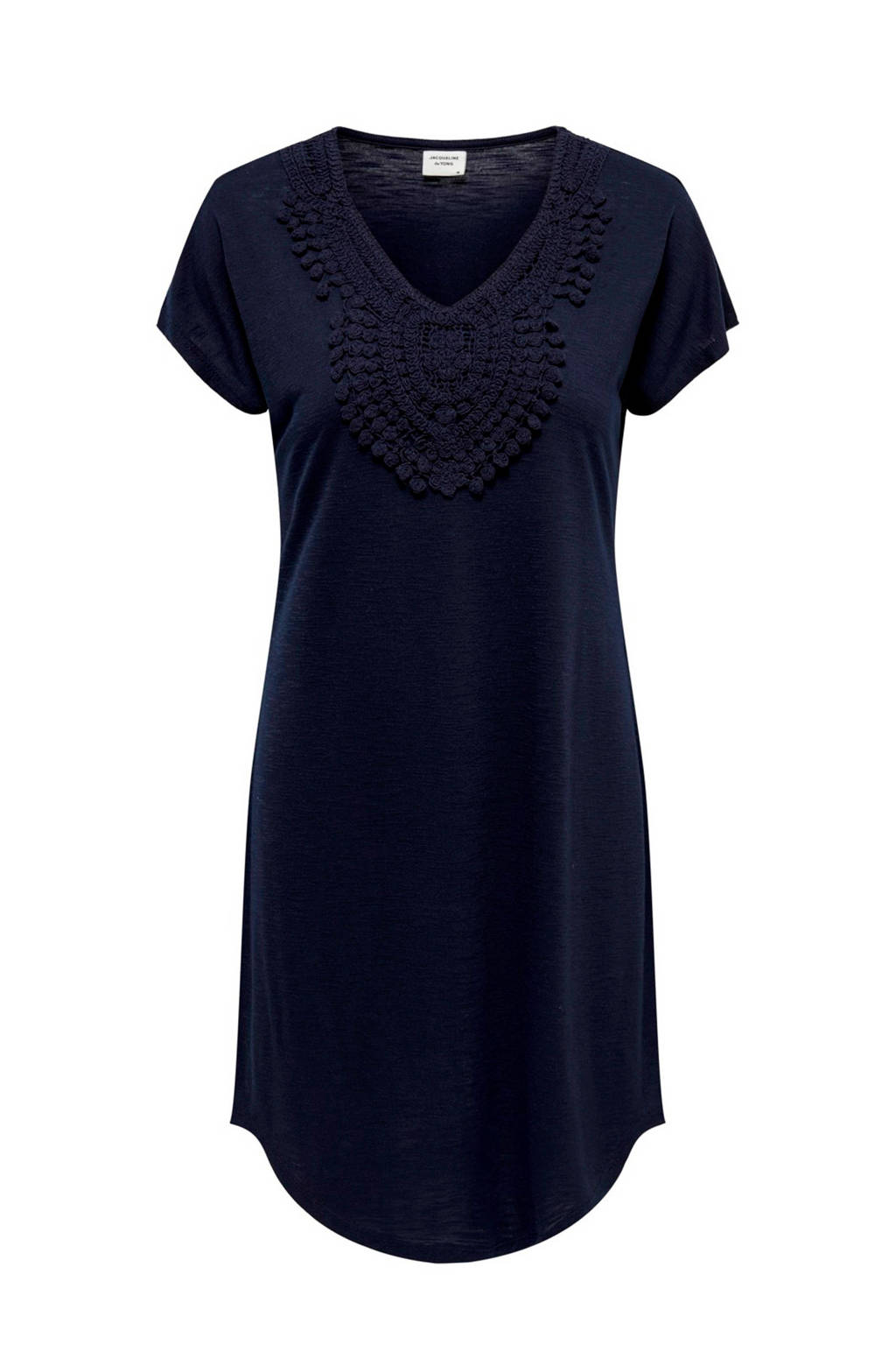 JACQUELINE DE YONG jurk met borduursels donkerblauw, Donkerblauw