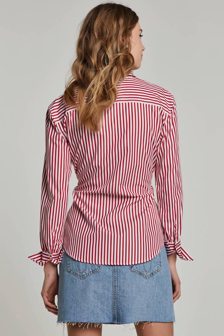 Lauren met rood strikdetail blouse gestreepte Ralph Lauren vvwnqHg8